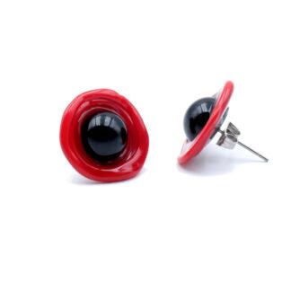 boucles d'oreilles coquelicot rouge