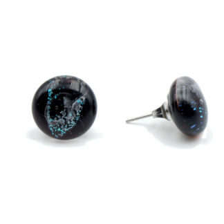 boucles d'oreilles pailletée noires en verre de muranos