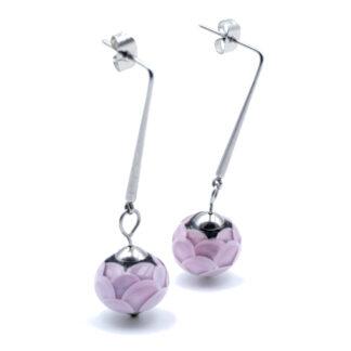 boucles d'oreilles écailles roses en verre de murano
