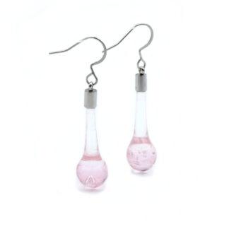 boucles d'oreilles goutte roses en verre de murano
