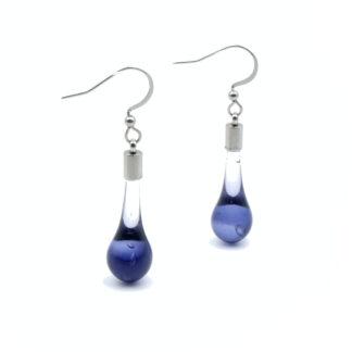 boucles d'oreilles goutte violettes en verre de murano