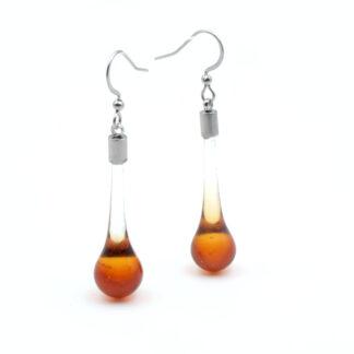 boucles d'oreilles goutte ambres en verre de murano