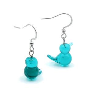 boucles d'oreilles oiseaux vertes d'eau en verre de murano