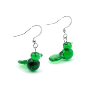 boucles d'oreilles oiseaux vertes intense en verre de murano
