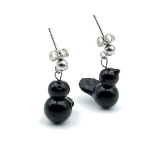 boucles d'oreilles oiseaux noires en verre de murano