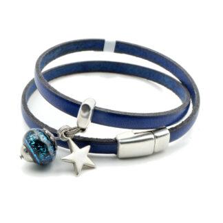 bracelet en cuir bleu marine avec une perle bleue noire pailletée