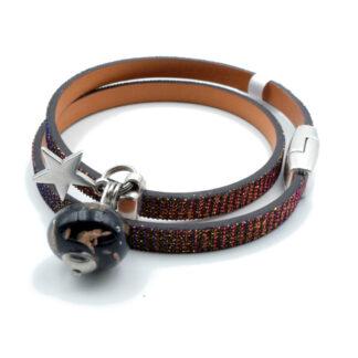 bracelet en cuir pailleté avec perle noire en verre de murano