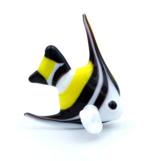 Poisson triangle blanc jaune noir en verre murano