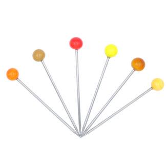 6 pics apéritif acier inoxydable et perles en verre murano