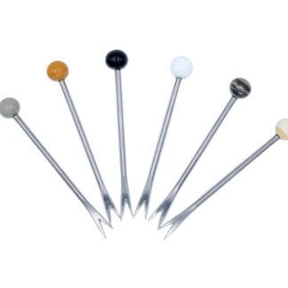 6 pics harpon acier inoxydable et perles en verre murano
