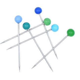 6 pics apéritif acier inoxydable et perles vertes et bleues en verre murano